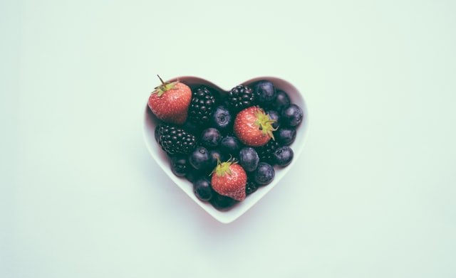 Healthy heart with berries